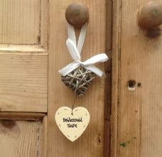 Shabby Personalised Chic Heart Willow Stringer Wedding Bridesmaid Flowergirl Etc